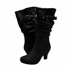 Women's Shoes Blossom Brand 39 Casual Mid Calf Buckle Boots Black *New*