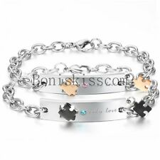 """"""" only love """" Promise Jigsaw Puzzle Stainless Steel Mens Womens Chain Bracelet"""