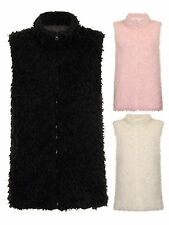 Womens Faux Fur Gilet Body Warmer Waistcoat Sleeveless Jacket Ladies Size 8 - 16