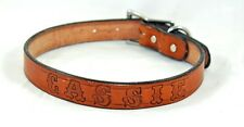 "TAN LIGHT BROWN 1"" DOG COLLAR LEATHER AMISH FREE CUSTOM NAME STAMPED PERSONAL"