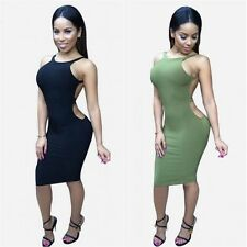 Sexy Women Strap Bandage Cutout Backless Bodycon Pencil Casual Club Party Dress