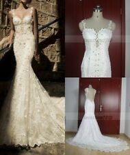 2015 White/Ivory Spaghetti Strap Lace Mermaid Wedding Vintage Custom Bridal Gown