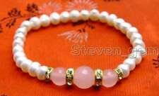 """SALE 6-7mm white Natural Pearl and pink Round natural jade 7.5"""" bracelet-bra290"""