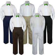 3pc Boy Suit Set Lime Green Bow Tie Baby Toddler Kid Formal Shirt Pants S-7