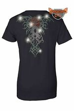 Women's Biker Juniors T-Shirt Rhinestones Angel Wings Red Rose Tribal Tattoo Tee