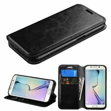 BLACK Case Leather Flip Wallet Pouch Cover Stand For Samsung GALAXY S6 Edge G925