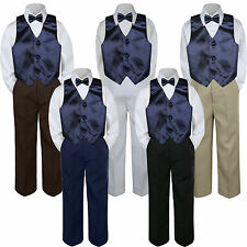 4pc Boy Suit Set Navy Blue Bow Tie Vest Baby Toddler Kid Formal Pants S-7