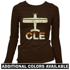 Fly Cleveland CLE Airport Women's Long Sleeve T-shirt LS - Ohio Pilot Plane S-2X
