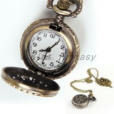 Vintage Retro Bronze Butterfly Flower Hollow Pocket Watch Chain Pendant Necklace