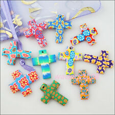 Wholesale New Polymer Fimo Clay Cross Flower Pendants Charms Mixed 22x28mm