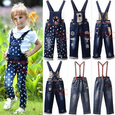 Boys Girls Suspenders Jeans Casual Extended Denim Overalls Pants Kids Trousers