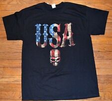 Black T-Shirt with Skull American Flag USA America  Pride T-Shirt Tee Brand New