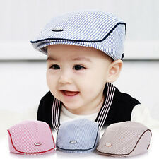 Lovely Baby Kids Infant Boy Girl Stripe Beret Cap Peaked Baseball Hat Casquette