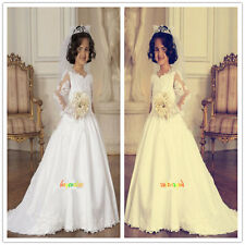 Baby Princess Bridesmaid Flower Girl Dress Lace Appliques party girl wedding-G