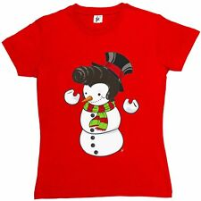Snowman With Elvis Presley Type Quiff Hair Smiling Funny Womens Ladies T-Shirt