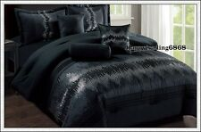 Black Sequin Embr. Pintuck 7pc * KING QUEEN Comforter Set + Valance +3 Cushion