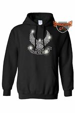 Women's Biker Pullover Hoodie Silver Studs Eagle Live To Ride Motorcycle Chopper
