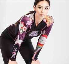 Grips Black Flower Power Womens Ladies Rashguard Long Sleeve BJJ MMA rash guard