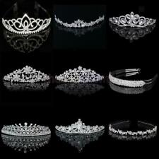 Wedding Bridal Pageant Crown Crystal Rhinestone Princess Silver Jewelry Tiara