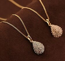 Womens Golden/Silver Plated Crystal Teardrop Waterdrop Necklace Shiny Pendant 1X