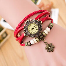 Quartz Movement Weave Around Leather Snowflake Bracelet Lady Woman Wrist Watch