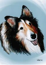 Shetland Sheepdog Art Sheltie Print Dog Breed Realistic Pet Portrait Weeze Mace