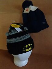 KIDS WINTER OUTERWEAR KNIT BEANIE HAT~LEVI'S NAVY POM - BATMAN BLK/GREY~ONE SIZE