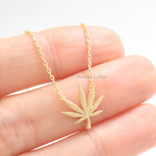 """Matt Polished Natural Inspired Marihuana Maple Pot Leaf Charm Chain Necklace 17"""""""