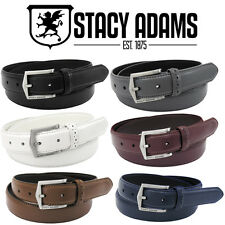 NEW STACY ADAMS 087 Smooth Genuine Leather w/ Perforated Loop Mens belt