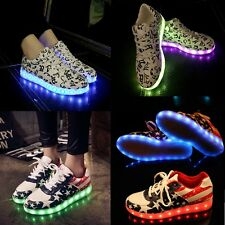 Men Women LED Night Light UP Flash Star Lace Up Casual Shoes Sneakers 8 colors
