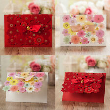 Laser Cut-out Pretty  Floral Design Wedding Invitation Cards and Envelopes, Seal