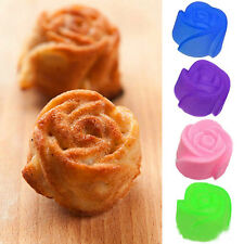 5pcs Rose Muffin Cookie Cup Cake Baking Chocolate Jelly Maker Silicone Mould
