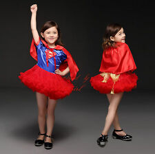 Childs Superhero Costume Halloween Girls Supergirl Outfit Kids Fancy TUTU Dress