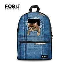 Animal Cat Canvas School Bag Travel Backpack Satchel Women Shoulder Rucksack NEW
