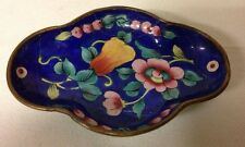 Vintage Copper and Enamel Oval Shaped Trinket Dish Blue with Flowers, Handmade
