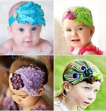 1Pcs Feather Girl Baby Toddler Infant Headband Hair Bow Band Hair Accessories