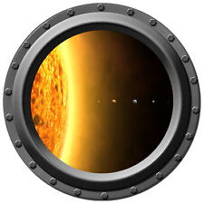 """26"""" Inch Wide Planets of Our Solar System Porthole Design One - Silver Frame"""