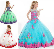 Lace Tulle Flower Girl Dress Wedding Easter Junior Bridesmaid vestidos de niña-G