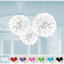 3x 40cm SOLID COLOUR POM POMS PARTY HANGING DECORATIONS BIRTHDAY BABY WEDDING