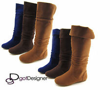 Womens Fashion Boot Flat Round Toe Foldable Cuff Slouchy Mid Calf Knee High NEW