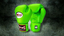 MUAY THAI KICK BOXING GLOVES TWINS SPECIAL MMA 8 10 12 14 16 18 OZ BGVL-3 LIME G