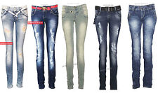 J32 NEW WOMENS SKINNY RIPPED JEANS LADIES SLIM FIT DENIM CASUAL BELTED TROUSERS