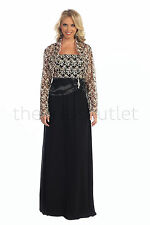 Plus Size Long Dress Jacket Lace Chiffon Mother of the Bride Gown Church Modest