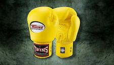 MUAY THAI KICK BOXING GLOVES TWINS SPECIAL MMA 8 10 12 14 16 18 OZ BGVL-3 YELLOW