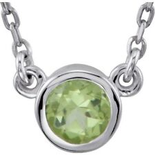 Genuine Peridot 4.0 mm Round Cut Gemstone Bezel Set Necklace 925 Sterling Silver