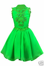 NEW TODDLER GIRL PAGEANT WEDDING DANCE FORMAL DRESS GREEN Yellow 1 2 3 4 5 6 7