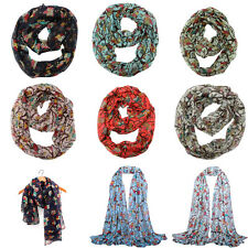 Women Branch Owl Warm Soft Voile Scarf Wrap Shawl Stole Chiffon Neck Wrap