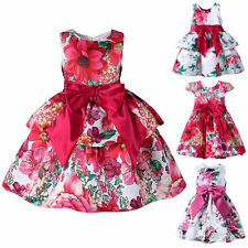 Toddler Baby Girls Kids Bow Flower Princess Dress Birthday Wedding Party Pageant