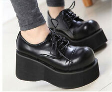 Womens Fashion Wedge Heel Platform Lace Up Creeper Gothic Oxfords Casual Shoes