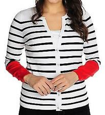 NEW OSO Casuals® Sweater Knit Long Sleeved Button Front Striped Cardigan S, M, L